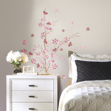 Pink Blossom Branch Peel and Stick Giant Wall Decals Wall Decal