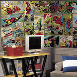 Marvel Comic Panel XL Chair Rail Prepasted Mural Wallpaper Mural