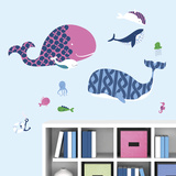 Sea Whales Peel and Stick Giant Wall Decals Wall Decal