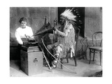 Densmore Recording Mountain Chief, 1916 Photographic Print by  Science Source