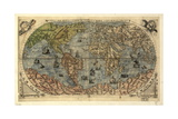 World Map, 16th Century Giclée-tryk af Science Source