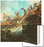 Battle of Salamis, 480 Bce Wood Print by Stanley Meltzoff
