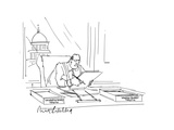 Businessman at desk - Cartoon Premium Giclee Print by Mort Gerberg