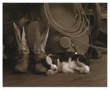 Cowboy Puppy Prints by Robert Dawson