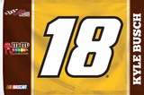 Kyle Busch 1-Sided Flag with Number Bandera