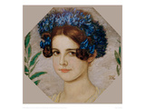 Daughter of the artist with cornflowers in her hair, 1909 Giclee Print by Franz von Stuck