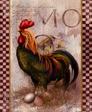 Green Pastures Rooster Poster by Alma Lee