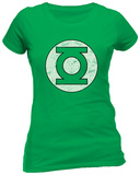 Juniors: Green Lantern- Distressed Logo Shirts