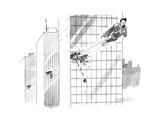 Superman flies through several building, with his attention focused solely... - New Yorker Cartoon Premium Giclee Print by Liam Walsh
