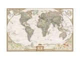 Politisk världskarta, exklusiv stil, engelska Konst av  National Geographic Maps