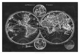 Charcoal World Map Prints by  Studio W