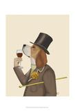 Beagle Wine Snob Plakater af Fab Funky
