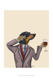 Dachshund Wine Snob Art by  Fab Funky