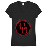 Juniors: Daredevil- Splatter Logo V-Neck T-Shirt