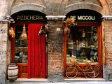 Bicycle Parked Outside Historic Food Store, Siena, Tuscany, Italy Posters par John Elk III