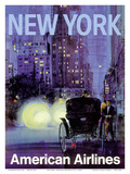 New York - Central Park Horse Carriage at Night - American Airlines Art by Van Kaufman