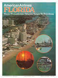 Florida - Miami Ft. Lauderdale Orlando Tampa St Petersburg - American Airlines Prints by  Pacifica Island Art