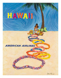 Hawaii - American Airlines - Native Hawaiian Girl Making Leis Giclée-tryk af John A. Fernie