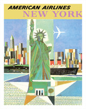 New York - American Airlines - Statue of Liberty Giclée-tryk af  Webber