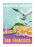 San Francisco, California - American Airlines - Coit Tower Premium Giclee Print by John A. Fernie