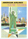 New York, USA - American Airlines - Statue of Liberty Giclée-tryk af Webber