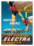 American Airlines - Jet Powered Electra Flagships - Lockheed L-188s Lámina por Walter Bomar