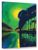 Bruges Canal At Midnight  Gallery Wrapped Canvas Stretched Canvas Print