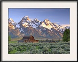 An Old Mormon Barn Sits at the Base of Grand Teton Framed Photographic Print by Robbie George