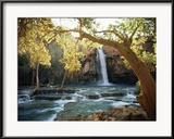 Scenic View of a Waterfall on Havasu Creek Gerahmter Fotografie-Druck von W. E. Garrett