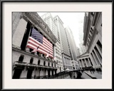 The facade of the New York Stock Exchange draped in the American Flag Framed Photographic Print
