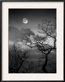 A Nearly Full Moon Sets over the Blue Ridge Mountains at Dawn Framed Photographic Print by Amy & Al White & Petteway