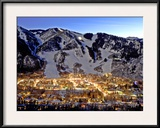 The Mountain Town of Aspen, Colorado, at Dusk in the Winter Framed Photographic Print by Robbie George