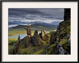 Basalt pinnacles loom over the Sound of Raasay. Framed Photographic Print by Jim Richardson