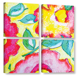 Pretty Posies 4 Piece Gallery Wrapped Canvas Set Gallery Wrapped Canvas Set