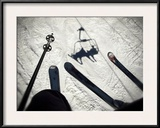 A View from the Ski Lift in Vail Colorado Showing Skis and Poles Framed Photographic Print by Keith Barraclough
