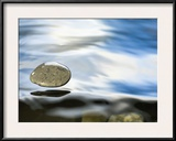 Skipping Stone Just About to Hit the Water's Surface Framed Photographic Print by Michael Durham/Minden Pictures