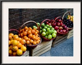 Six Baskets of Assorted Fresh Fruit for Sale at a Siena Market, Tuscany, Italy Framed Photographic Print by Todd Gipstein
