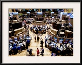 An high angle view of the New York Stock Exchange's trading floor Framed Photographic Print