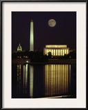 Moonrise over the Lincoln Memorial Framed Photographic Print by Richard Nowitz