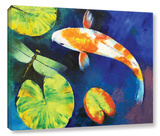 Kohaku Koi And Dragonfly Gallery Wrapped Canvas Stretched Canvas Print