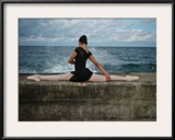 A Classic Ballerina from the Cuba National Ballet at the Malecon Framed Photographic Print by Kike Calvo