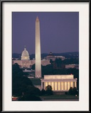 A Night View of the Lincoln Memorial, Washington Monument, and Capitol Building Framed Photographic Print by Richard Nowitz
