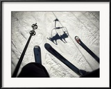 Keith Barraclough - A View from the Ski Lift in Vail Colorado Showing Skis and Poles Zarámovaná reprodukce fotografie