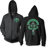 Zip Hoodie: Dropkick Murphy'S- Drinking Skeleton Cross (Front/Back) Hettejakke