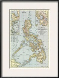 1945 Philippines Map Poster