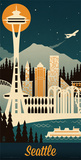 Lantern Press- Seattle Retro Skyline Prints by Lantern Press