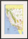 1974 Close-up USA, California and Nevada Map Prints