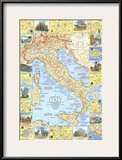 1970 Travelers Map of Italy Prints