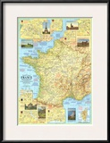 1971 Travelers Map of France Prints