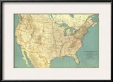 1933 United States of America Map Posters